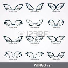 Sammlung von stilisierten Flügel gesetzt Flügel
