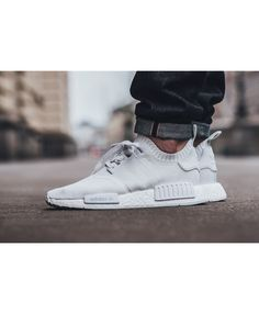 9c61548d1e38a Adidas NMD R1 Primeknit All White Triple White Trainers Sale UK Nmd White