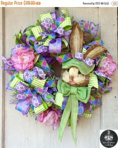 Easter Sale 10% off Easter wreath Deco mesh wreath Easter burlap wreath bunny wreath peony wreath