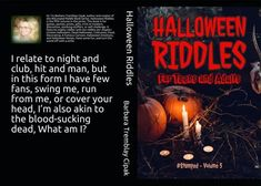 Halloween Riddles Features 80 Riddles all Related to Halloween. Available on Amazon. Halloween Riddles is ideal for parties, gifts, stocking-stuffers, prizes, games, or mind-challenging. #halloweenriddles #halloween #stumpedriddles #stumped #halloweenparties #halloweenbook #riddles #brainteasers #stockingstuffers Halloween Riddles, Halloween Books, Halloween Night, Riddle Games, Famous Cartoons, Brain Teasers, Getting Things Done, Writing A Book, Book Series
