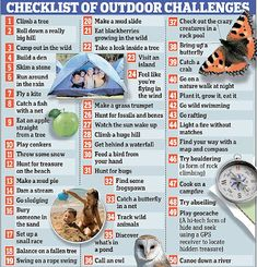 50 Outdoor activities that children should try by the age of 11 3/4 The list is compiled by the National Trust