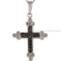This is pretty 14k white gold natural round black diamond cross pendant 0.50 carat weight with  AAA quality natural black diamond comes in 14k white gold. Centered with beautiful natural black and white diamond and crafted with 14k white gold.