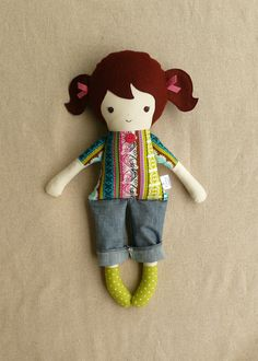 Handmade Fabric Doll Rag Doll in Jeans. $32.00, via Etsy.