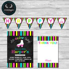 Neon Roller Skating Party Invitation by ERRdesigns  Purchase Options: Digital File: 2-3 Business Days Digital File - Rush: 24 Hours Included: 1- JPEG file of invitation 1- 8.5x11 PDF for home printing (2-5x7 or 3-4x6 on one sheet) 1- JPEG of thank you note 1- 8.5x11 PDF of thank you (3- 4x6) 8- PDF files of HAPPY BIRTHDAY! banner (to add childs name to banner https://www.etsy.com/listing/227826757/add-name-to-any-banner-digital-file)  Purchase Options For Prints: 3-5 business days to ship…