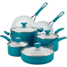 12-Piece Ceramic Cookware Set in Marine Blue - SilverStone