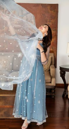 Pakistani Dress Design, Pakistani Suits, Pakistani Dresses, Blue Colour Dress, Color, Stylish Dpz, Pakistani Actress, Outfit Goals, Simple Dresses