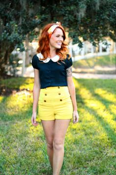 Be a ray a sunshine in some high-waisted yellow shorts! :: Yellow Shorts:: Vintage Style:: Retro Fashion:: Pin Up Clothing:: Pin Up Spring Fashion Retro Mode, Vintage Mode, Vintage Style, Lady Like, Moda Pinup, Pretty Outfits, Cute Outfits, Black Outfits, Vintage Outfits