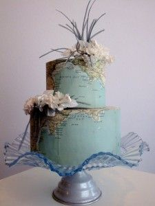 this is the style of cake (not with this cake plate) that I ordered from People's Cake - except narrower 3 tiers