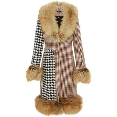 Ellery     Idol Mixed Houndstooth Long Coat ($7,855) ❤ liked on Polyvore featuring outerwear, coats, multi, e l l e r y, brown houndstooth coat, fur trim coat, pattern coat and brown coat