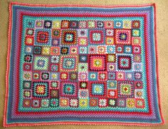 Really pretty patchwork granny afghan. Great way to use up stash yarn!