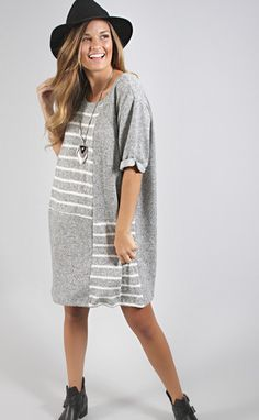 meet in the middle stripe dress - heather gray--Get 15% off + Free Shipping w/code 'RiffraffRepLauren' at checkout on ShopRiffraff.com!