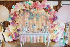 Balloons are the epitome of parties and we're loving the balloon garland trend right now. Check out these 16 Balloon Garland Party Ideas for your next party 16 Balloons, Balloon Garland, Balloon Decorations, Birthday Decorations, Pastel Balloons, Balloon Ideas, Unicorn Decorations Party, Ballon Backdrop, Balloon Arch Diy