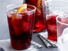 Red Wine Punch: makes6 Combine 1 bottle red wine  6 ounces brandy  6 ounces raspberry or orange liqueur and the juice of 2 lemons in a large pitcher and refrigerate at least 2 hours or overnight.  Serve over ice and garnish with raspberries and orange slices.