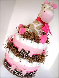 Baby Girl Diaper Cake  Pink & Brown Giraffe by DomesticDivaDesignz, $80.00