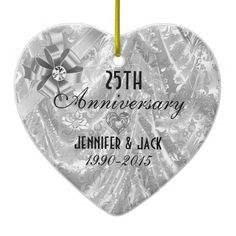 Black & Silver 25th Wedding Anniversary Ornament 2