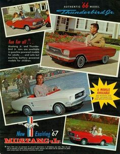 Mustang Jr and Thunderbird Jr flyer. Gas-powered version for adults and battery-powered for kids. The New School, New School Year, Mustang 1966, Leather Repair, Classic Mustang, Mode Of Transport, Pedal Cars, Car Painting, Sport Cars