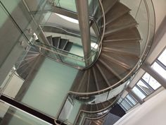 Kirkstone slate staircase in the Gateshead Art Centre building. Clifford Chapman Metalworks made the steel structure and stainless steel elements
