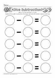 Dice subtraction worksheets