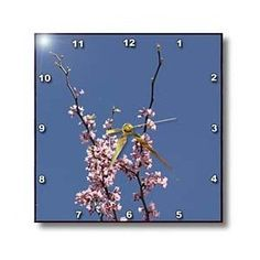 Pink Cherry Blossom and Sky Flowers - Wall Clocks