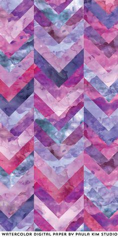 Watercolor patchwork digital pattern by Paula Kim Studio
