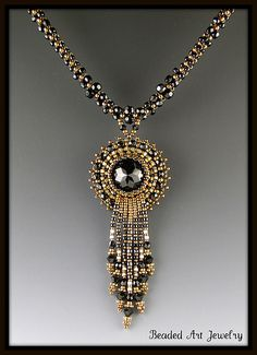 Beaded Crystal Necklace | Flickr - Photo Sharing!  Great fringe waterfall