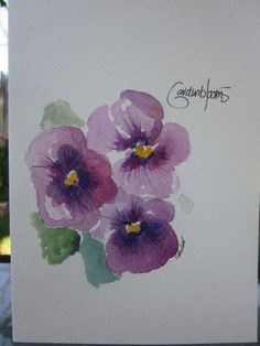 More Purple Pansies Watercolor Card