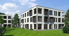 Baufritz Mehrfamilienhaus Stadthaus mit sechs Wohnungen - Zwei Geschosse mit jeweils voneinander versetzten Balkonen oder Terrassen, die nach Süden, Süd-Westen und nach Westen ausgerichtet sind.