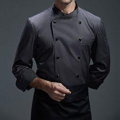 White Gray Black Long Sleeve Shirt - Little Tailor Studio Cafe Uniform, Waiter Uniform, Hotel Uniform, Staff Uniforms, Work Uniforms, Black Long Sleeve Shirt, Long Sleeve Shirts, Kellner Uniform, Bartender Uniform