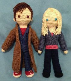 Doctor Who amigurumi - The 10th Doctor and Rose