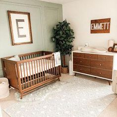 Boy Nursery – Ideas For Decoration - Interior Decor and Designing Brown Nursery, Brown Crib, Wood Nursery, Nursery Letters, Nursery Neutral, Nursery Room, Nursery Decor, Simple Baby Nursery, 3d Letters