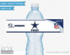 Dallas Cowboys Party Water Labels, Printable Labels, Digital – Customized by RoxCreativeDesign on Etsy
