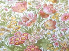 Vintage-Sanderson-Cotton-Interiors-Fabric-Time-Was-Pinks-Yellow-on-White-New