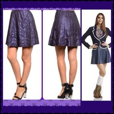 CL NWT FUN FAUX LEATHER SKIRT PERMANENT PLEATS Self LINED. One Thing Missing.   YOU Ark & Co Skirts