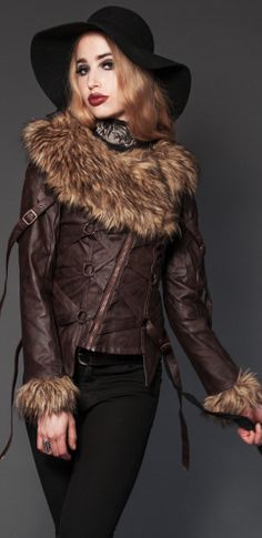 Womens - Outerwear - Apocalyptic Fur Vegi Leather Jacket - Closeout Sale