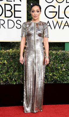 Ruth Negga Dress: custom Louis Vuitton Runway Fashion, Fashion Models, Fashion Show, Womens Fashion, Fashion Tips, Fashion Design, Fashion Trends, Golden Globes After Party, Silver Dress