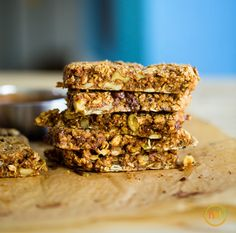 Road trip bars, made with almond butter, dates, oats, seeds, nuts, and chocolate.