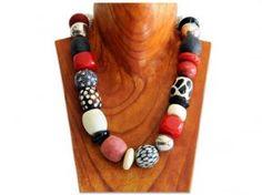 Mixed bead chunky trade bead necklace