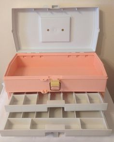 1980s large pink Caboodles makeup train case by WhimsicalStewShop