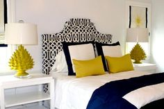 Artichoke Lamps in Chartreuse brighten this bedroom. #straydogdesigns