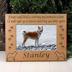 Personalized Akita Dog Lover Gift | Custom If Tears Poem Dog Breed Memorial Frame | EtchedInMyHeart.com