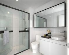House Bathroom, Interior, Black White Bathrooms, Upstairs Bathrooms, Shower Doors, Bathroom Interior, Bathroom, Bathroom Renovations, Bathroom Decor