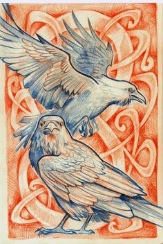 Ravens … Birds of Power and Mystery have long been associated with ceremonial mythology. Crow Art, Raven Art, Bird Art, Hugin Munin Tattoo, Corvo Tattoo, Gravure Photo, Rabe Tattoo, Crows Ravens, Desenho Tattoo