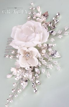 ROSE Floral Hair Accessories White Bridal Hair Flower Comb With Rhinestones by TopGracia #topgraciawedding #bridalhairaccessories #weddingheadband