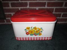 Vintage 1940s Cheery Red Tin Bread Box with Yellow Nasturtiums. $42.00, via Etsy.