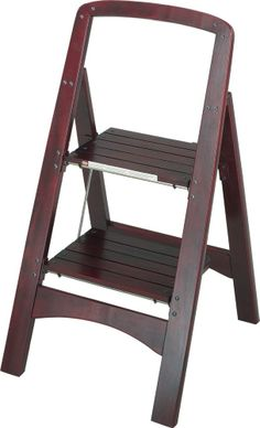 Folding Two Step Wood Stool Ladder Mahogany Kitchen Library Office Home Foldable. Price $56.75