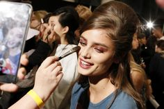 Taylor Hill backstage at the Anna Sui S/S17 show during New York Fashion Week on September 14, 2016.