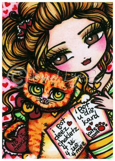 ACEO Kitty Card Valentine Birthday Mother's Day Comic Art Card Atc Open Edition. $2.50, via Etsy.  Kinda girly, but I think she has a very unique style.