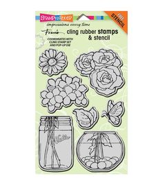 Stampendous Fran's Cling Stamp & Stencil Set - Build A Bouquet Set