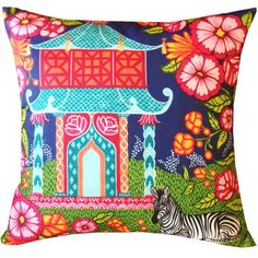 Image of Chinoiserie Garden Teal Pillow Cover - SOLD OUT