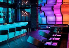 Located inside the W Hotel in Montreal, the Wunderbar Lounge is a space created by BPC, a hospitality development and management company.  The design is inspired by the four seasons and boasts vivid colors and beautiful lighting effects.  Photos by Stephane Groleau.  via Fubiz